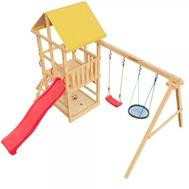Детский городок САМСОН 4-Й ЭЛЕМЕНТ + качели гнездо, горка, башня с крышей, фото 1